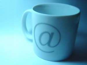 email coffee cup with @ sign